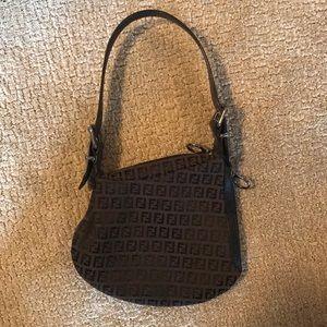 Fendi brown and black zucchino FF oyster bag.